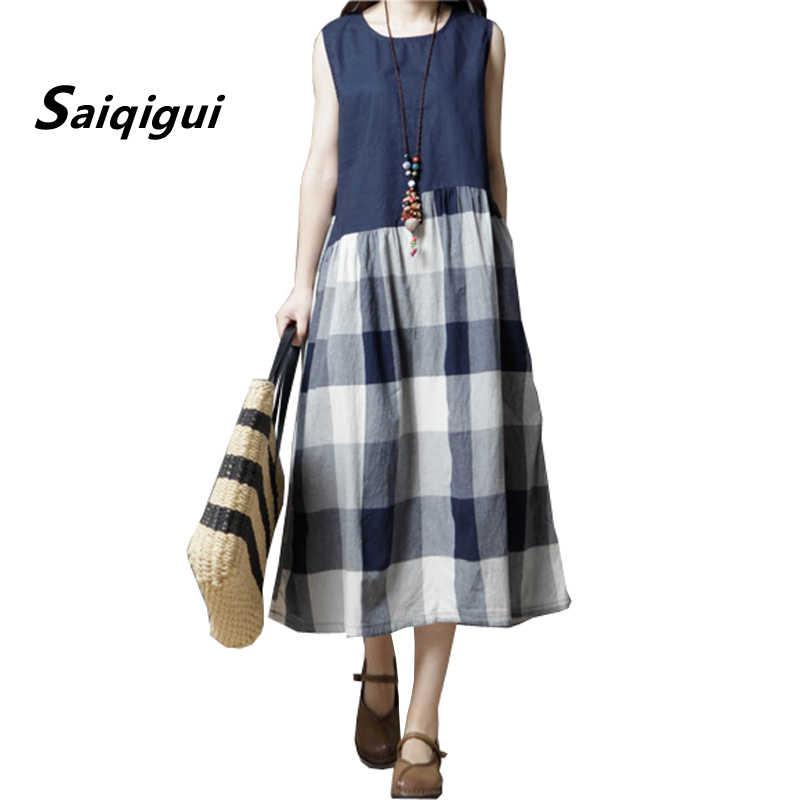 Saiqigui летнее платье женское платье без рукавов повседневное свободное  ТРАПЕЦИЕВИДНОЕ винтажное платье женское хлопковое льняное платье 64b1d27841e