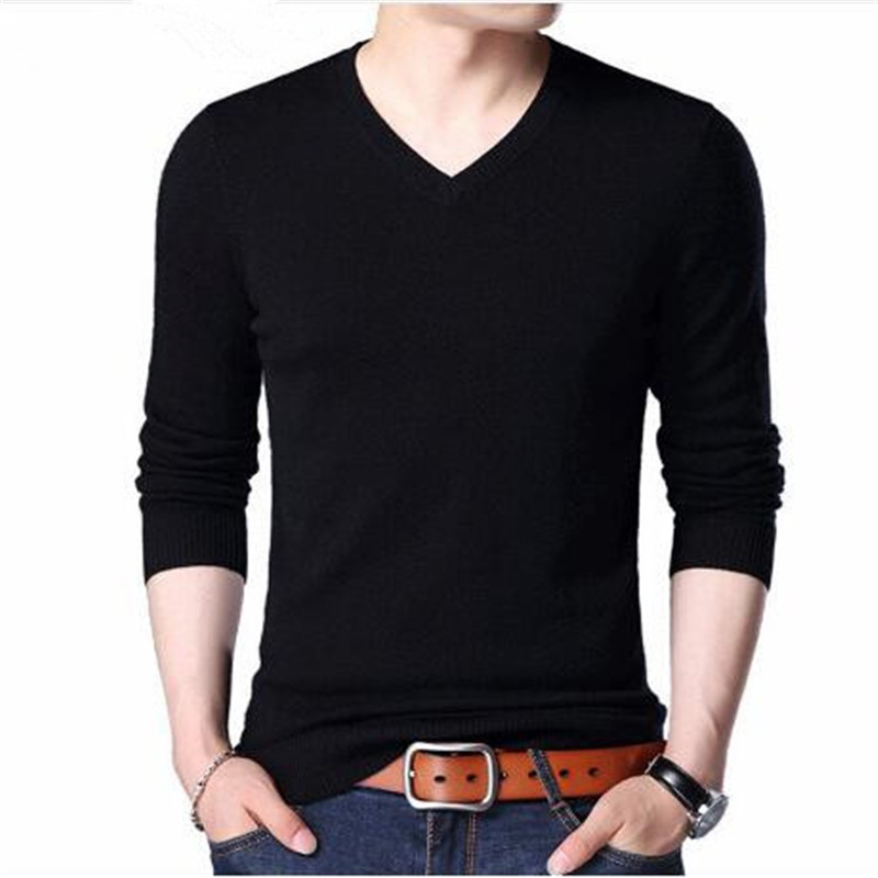 Merino Wool Sweater Men Casual Classic V-Neck Pull Homme 2018 Winter New Arrival Men's Pullover Sweaters Multicolor
