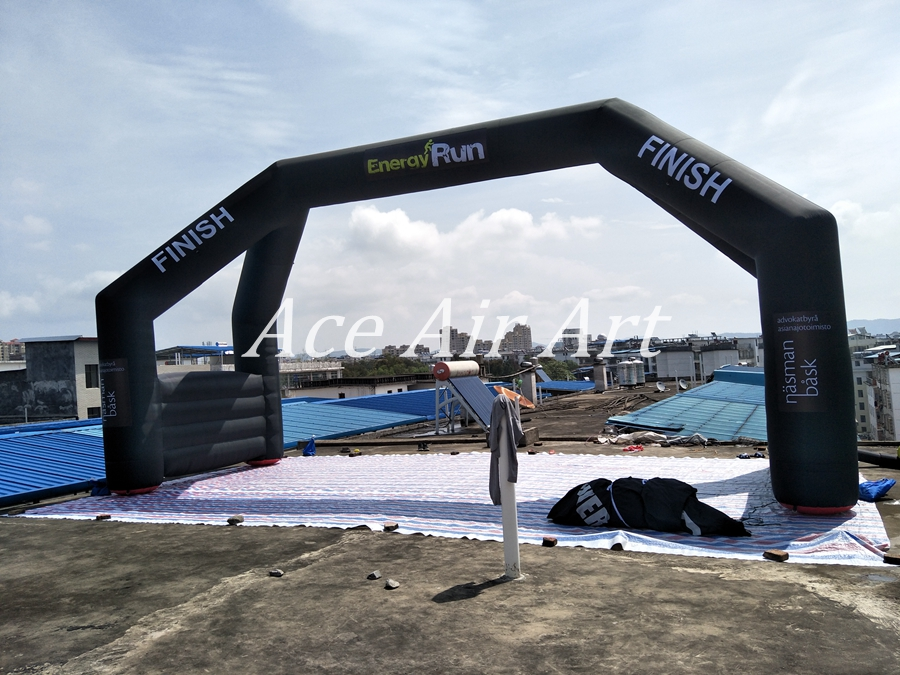 9.5m W *5m H inflatable black finish line arch with FINISH banner on ...