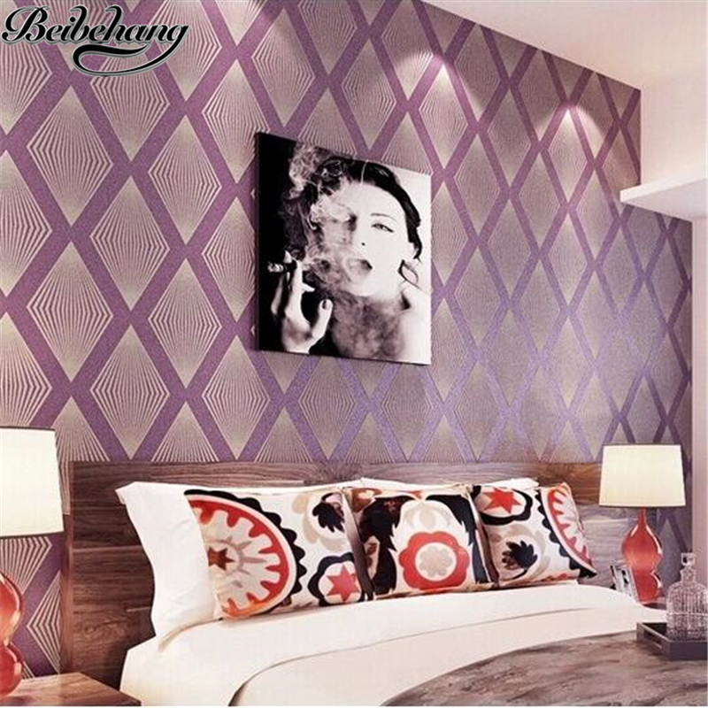 beibehang Non-woven Wallpaper Damask 3D Wall paper Design diamond pattern wallcovering Prismatic purple papel de parede beibehang non woven wallpaper damask 3d wall paper design diamond pattern wall covering prismatic purple papel de parede living