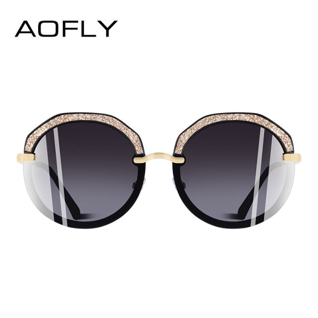 AOFLY BRAND DESIGN New Fashion Round Sunglasses Shining Frame Polarized Sunglasses Women Goggles UV400 A127 2