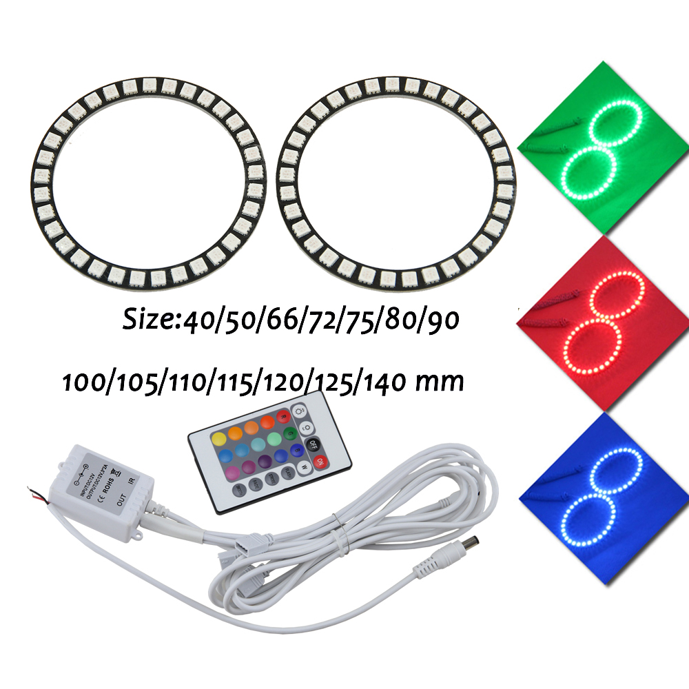 Universal RGB LED angel eyes halo ring Headlights DRL Remote Kit 40 50 66 72 75 80 90 <font><b>100</b></font> 105 <font><b>110</b></font> 115 120 125 140 mm image