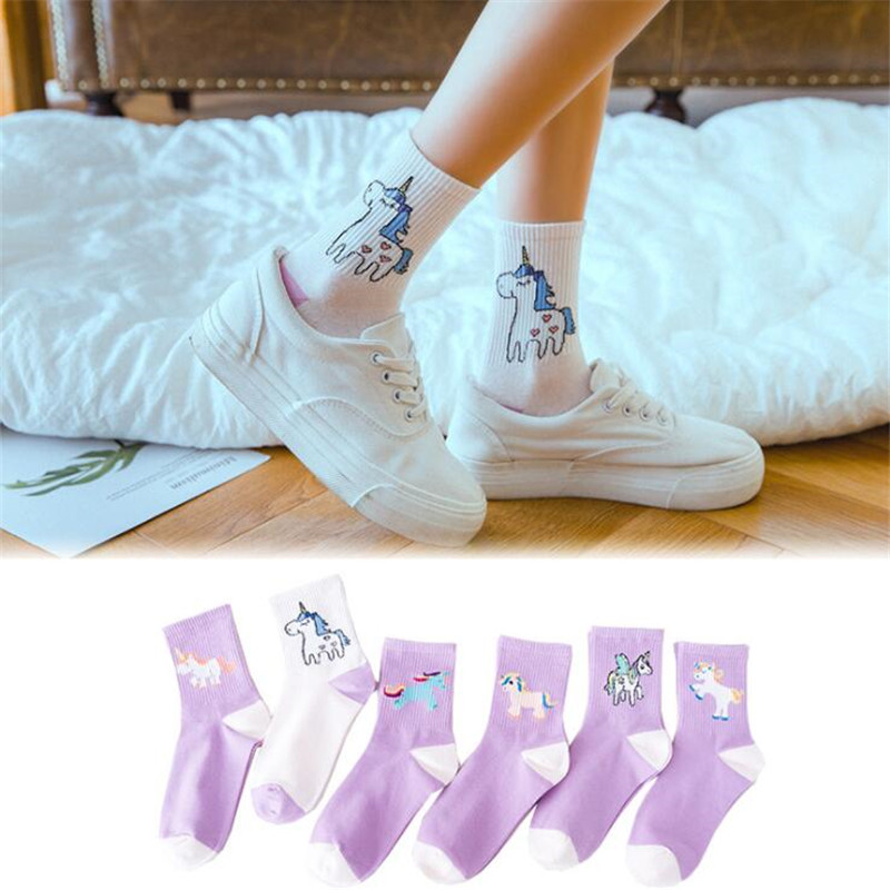 New Women Funny   Socks   Unicorn Cartoon Animals Ins Popular Horse Kawaii   Socks   Harajuku Unicorn   Socks   For Girl Woman Cotton Meias