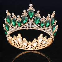 Baroque Bridal Tiaras and Crowns Queen King Wedding Hair Accessories Rhinestone Crystal Diadem Bride Prom Head Jewelry