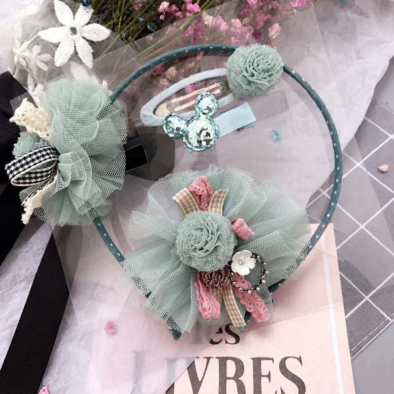 Korea Lace Flower Crown Hair Accessories Set Gauze Hair Clips  Hair Band Headband for Girls Hair Bow Princess Hairband