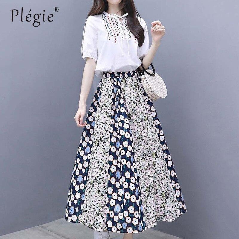 Комплект из двух предметов, Летняя женская одежда, длинная юбка с цветочным рисунком + топ с короткими рукавами и вышивкой, блузка, элегантна...