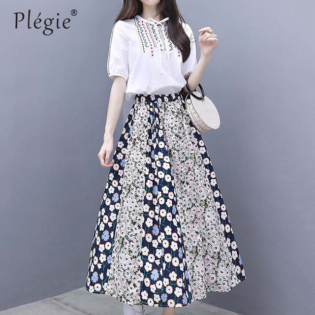 bbabe98356 Plegie Two Piece Set Summer Women Clothes Floral Long Skirt + Short Sleeve  Embroidery Top Blouse Elegant 2 Piece Set Women