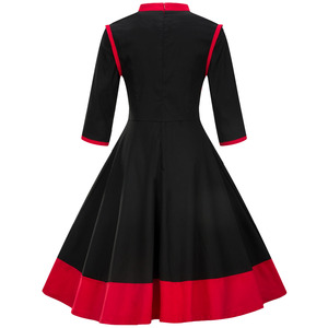 Image 3 - ملابس للسيدات بمقاسات كبيرة 3XL 4XL فستان عتيق لاستعادة الياقة القديمة لربيع وخريف الماندرين مرقع باللون الأسود والأحمر