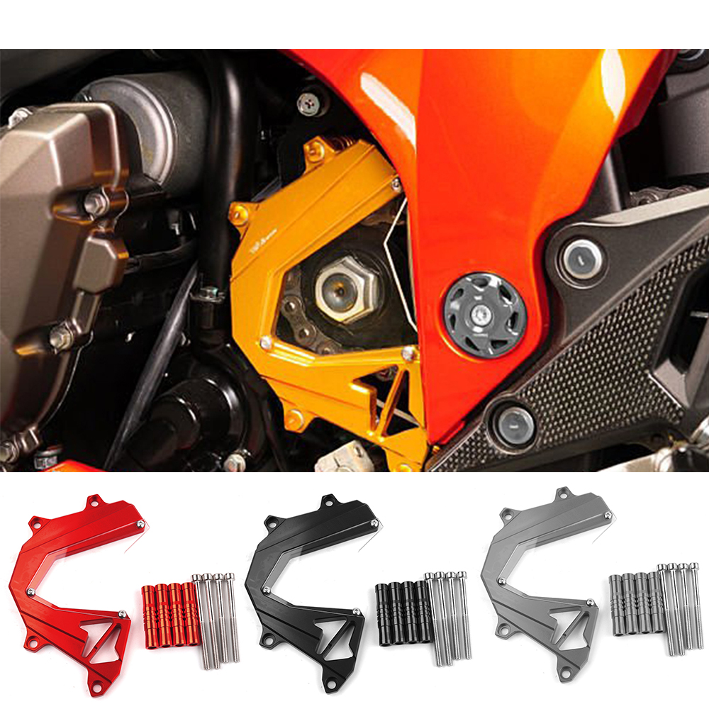 Motorcycle accessories CNC Aluminum Panel Left Engine Guard Chain Cover Protector screws cap For Kawasaki Z800 Z 800 2013-2016 engine oil filter cap screws for kawasaki z1000 z800 motorcycle accessories