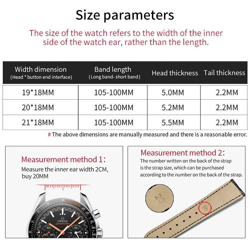Image 5 - HOWK مربط الساعة بديلا أوميغا حزام (استيك) ساعة 19 مللي متر 20 مللي متر 21 مللي متر جلد حزام (استيك) ساعة التمساح الخيزران حزام مع فراشة مشبك-في أشرطة ساعة اليد من الساعات على AliExpress