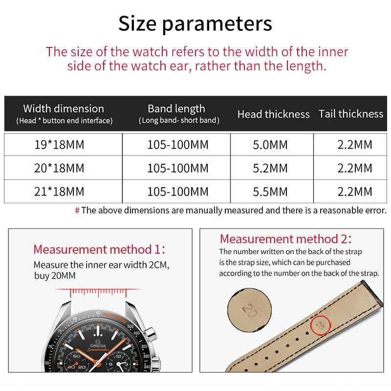 HOWK רצועת השעון תחליף אומגה שעון להקת 19mm 20mm 21mm להקת שעון עור תנין במבוק רצועת עם פרפר אבזם