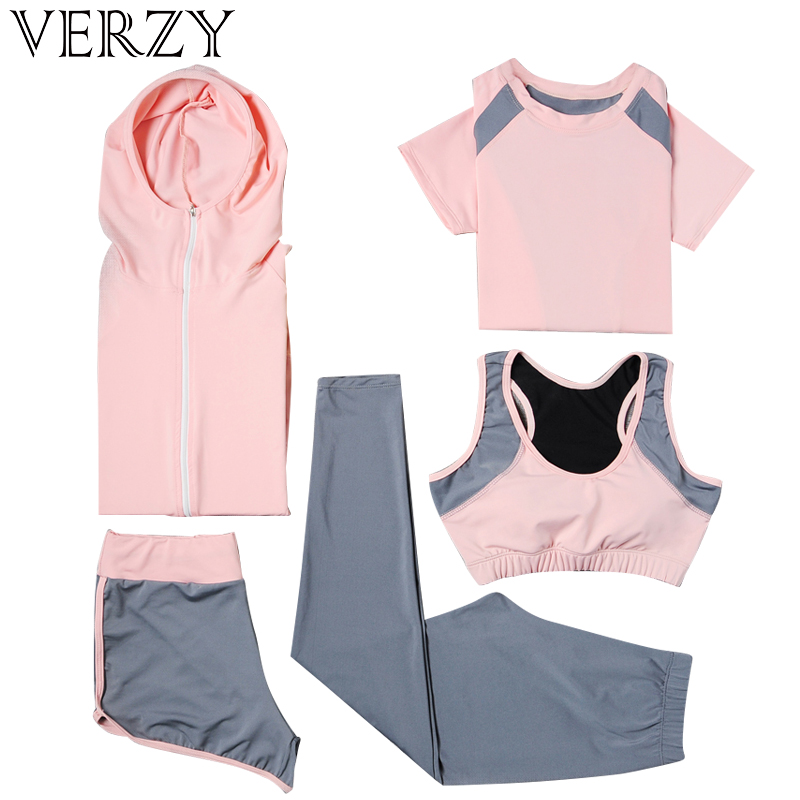 2018 Yoga Set Sport Jacket+Tights Pants+Short+Yoga Shirt+Sports Bras 5 Pieces Running Sportswear Tracksuit Fitness Gym Clothing