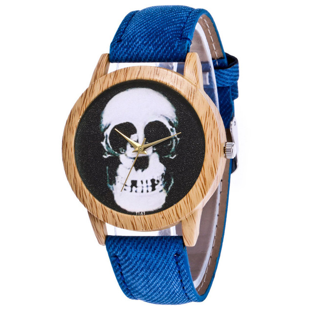 Skull Printed Women's Black Quartz Wristwatches Casual Leather Strap Watchband Analog Quartz Round Watch Vintage Dropshipping 4