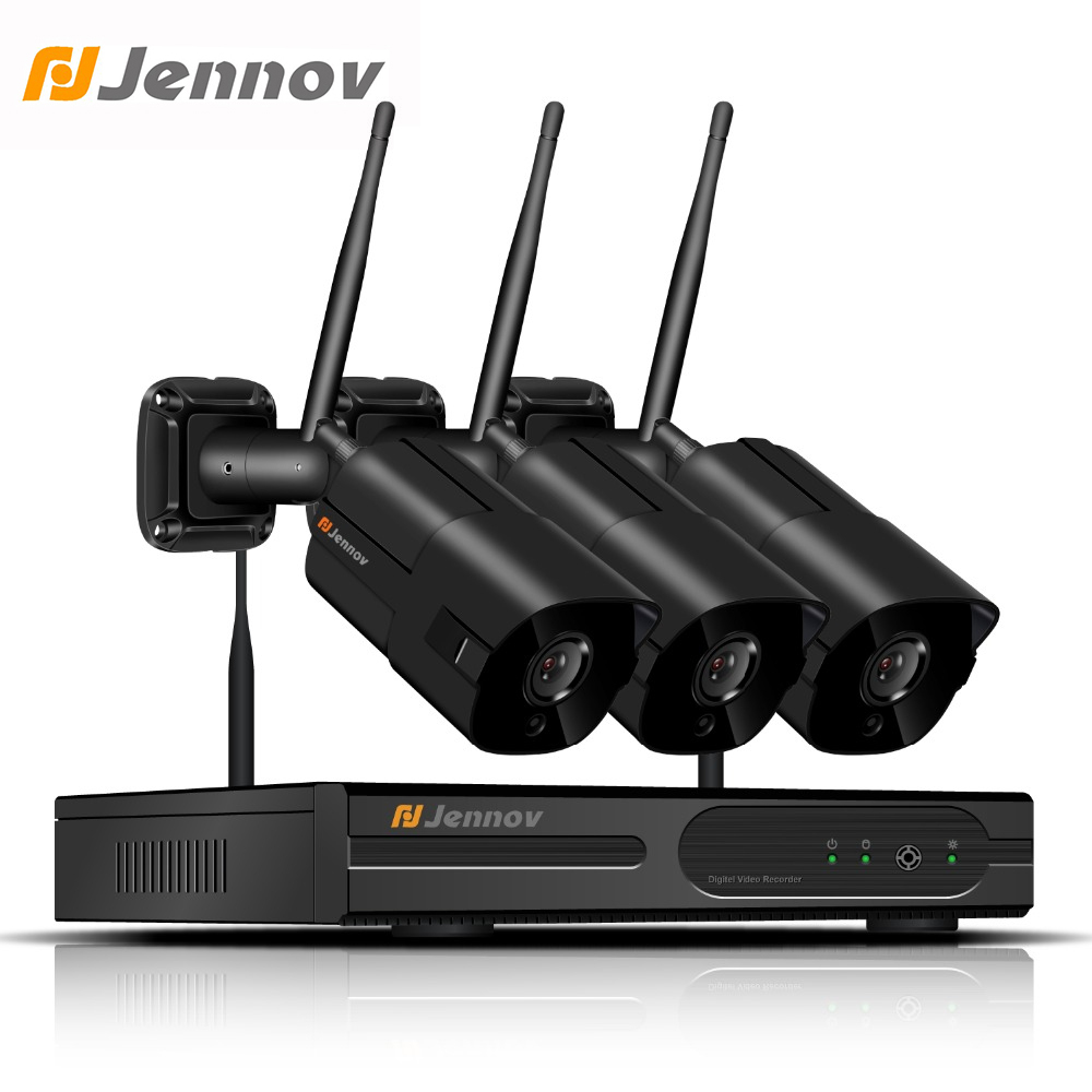 Jennov 1080P 2MP 4CH IP Camera System Video Surveillance Wifi Security Camera System Wireless NVR Kit CCTV Set P2P Night View 4ch wireless nvr kit 13 lcd monitor screen waterproof 1080p 2mp security cctv ip camera wifi p2p video surveillance system set