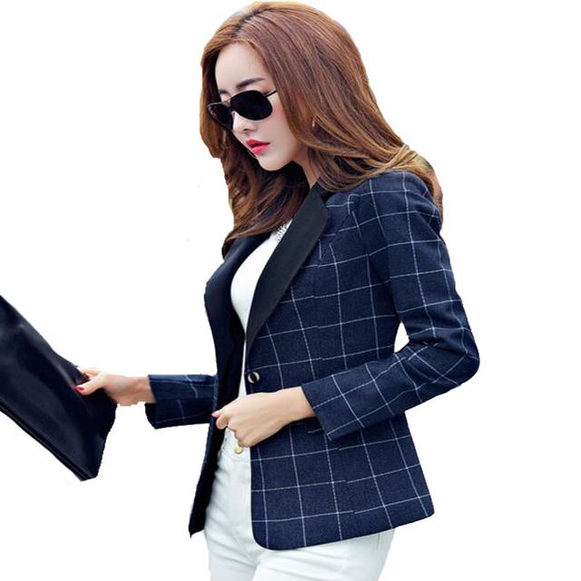 Das mulheres Blazers E paletós Outono 2016 Coreano Long Slim manga Xadrez Blazers Botão Tamanho Grande Casual Ternos de Escritório Para mulheres
