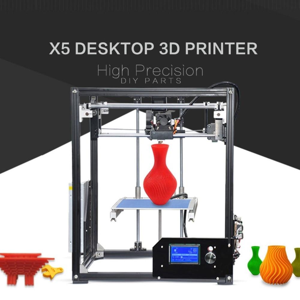 High Performance X5 DIY 3D Printer Professional High-Precision 210*210*280mm Print Size Printing Machine EU Plug upgarded aluminium cube 3d printer kits bapasco x5 full metal extrusion high precision 12864p lcd big printing size 210 210 280
