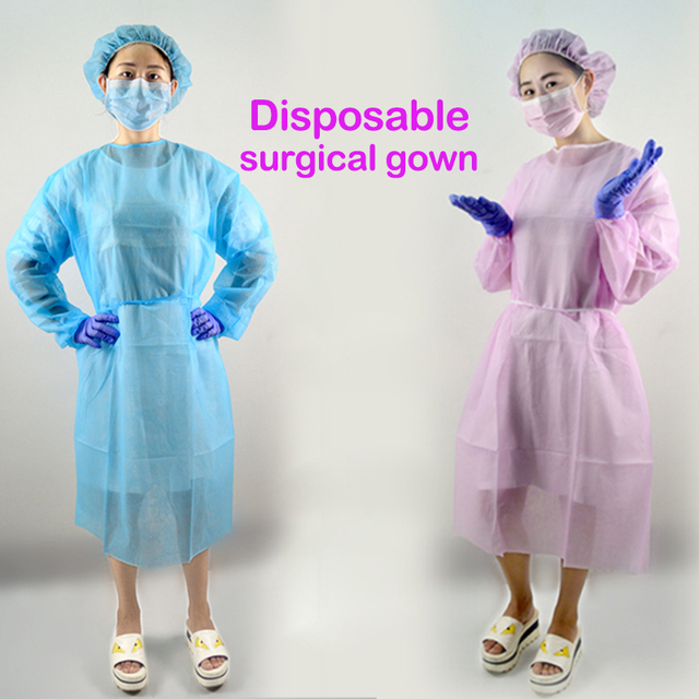 10pcs Pink Disposable Surgical Gown Thin And Light Dust Clothes ...