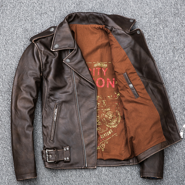 HTB1YAGCpdcnBKNjSZR0q6AFqFXaC MAPLESTEED Brown Distressed Motorcycle Jacket Men 100% Calf Skin Classic Slim Leather Jacket Man Moto Biker Coat Winter 5XL M190