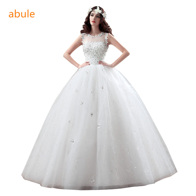 Vintage Wedding Dress 2018 Princess lace lace up beading bridal gown flowers vestido de noiva crystal sheer customize plus size