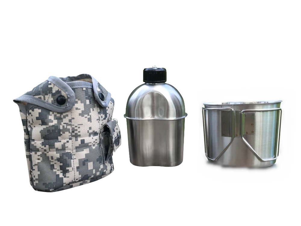 Jolmo Lander G.I. Type Stainless Steel Canteen with Cup and Cover Canteen Kit 1.2L Canteen and Canteen Cup with Lid стоимость