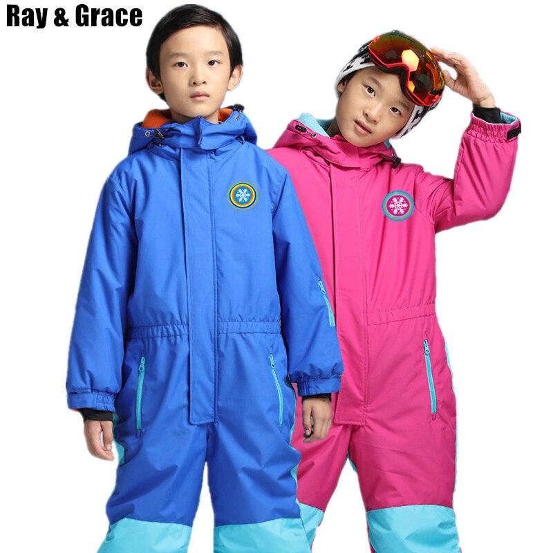 RAY GRACE Kids Snowboard Snowmobile One Piece Ski Suit Snowsuit Boys Girls Thermal Waterproof Windproof Snow