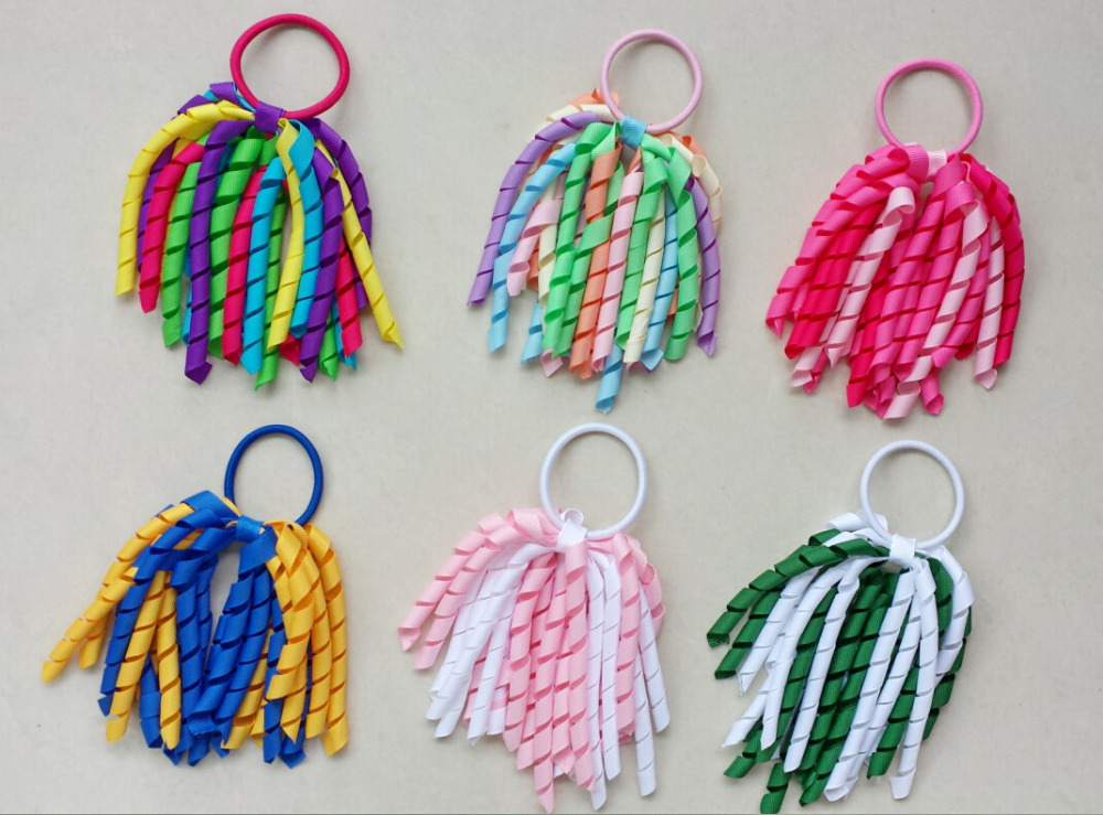 60pcs 5 inch Girl O A korker Ponytail holders curl whirl tassel ribbons streamers corker hair