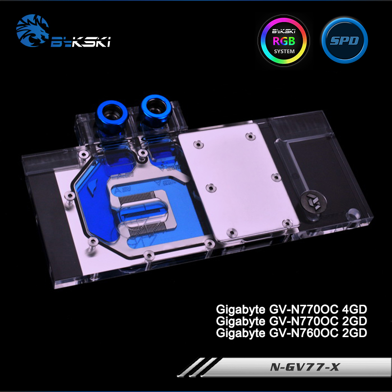 Bykski N-GV77-X Full Cover Graphics Card Water Cooling Block RGB/RBW/ARUA for Gigabyte GV-N770OC 4G/2G, GV-N760OC 2G computador cooling fan replacement for msi twin frozr ii r7770 hd 7770 n460 n560 gtx graphics video card fans pld08010s12hh