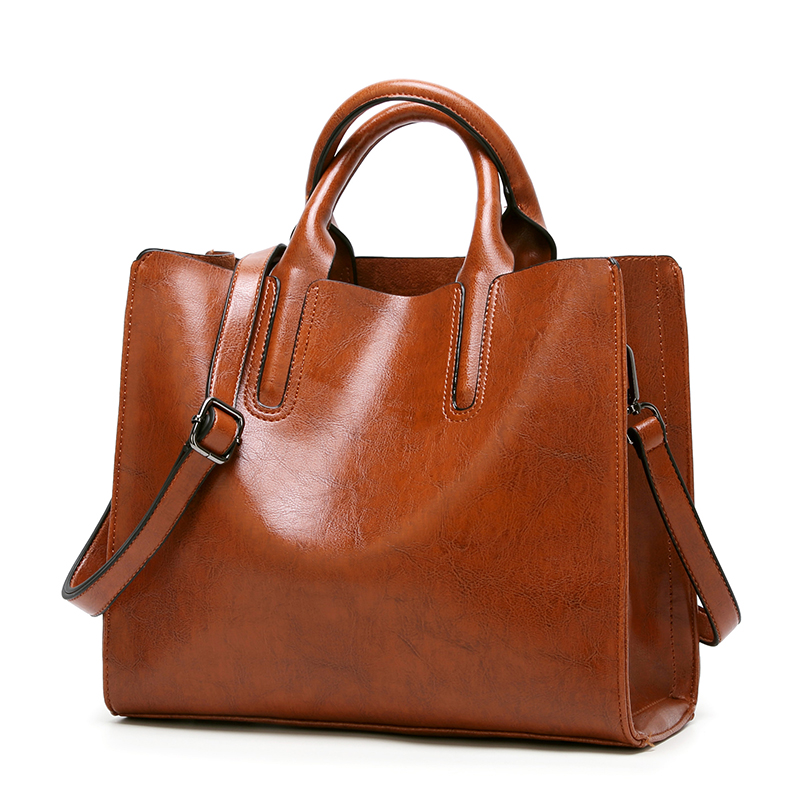 995cc0b46de757 Image Soft Vintage Women Handbags PU Oil Wax Leather Tote Bag Solid Zipper  Big Size Fashion
