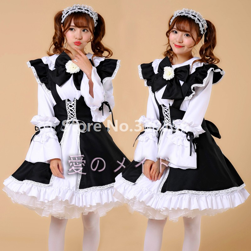 63b1ae2cd50 Rochii Plus Size Japanese Anime Cosplay Maid Costumes Outfit Girls Gothic  Restaurant Maid Dress Uniform Sweet Ball Gown Lolita Dress