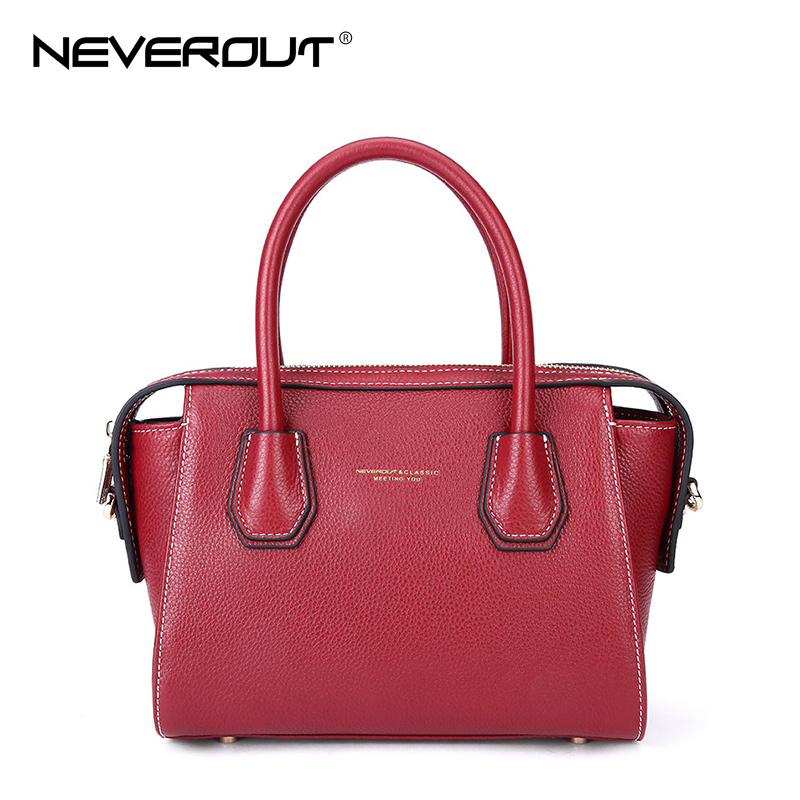 NeverOut Women Bag High Quality Genuine Leather Handbags Casual Tote Crossbody Bags Shoulder Totes Solid Fashion Small Handbag spring new elegant leather women handbag smooth skin lady shoulder bags female small casual totes cover zipper crossbody packs