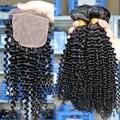 Бразильский Kinky Вьющиеся Девы Волос Шелковый База Закрытие С Пучками 4 Шт. 6А Бразильского Виргинские Волос С Закрытие Rosa Средства Для Волос продукции