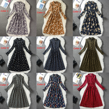 High Elastic Waist Vintage Dress A-line Style Women Full Sleeve Flower Plaid Print Dresses Slim Spring Dress 18 Colors
