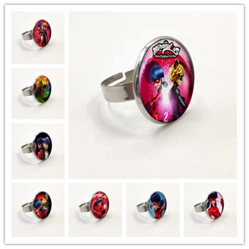 Newest Arrived Ladybug Girl Cartoon ring Lady Bug Fashion Poster Glass ring Kids Jewelry Gifts