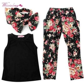 3 Pcs Kids Suits Baby Girls Summer Clothing Black Vest+Floral Pants+Headband conjuntos casuales para niñas