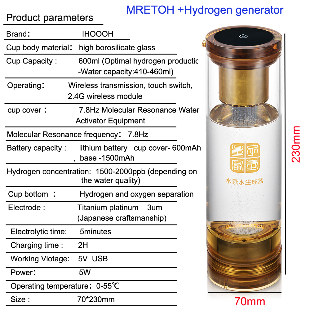 Hydrogen water generator and MRET OH 7.8Hz/Molecular Resonance Effect Technology and Implantation quantum cup factory Outlet