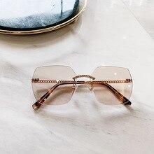 PAWXFB High quality Rimless Sunglasses Women Men Square Driving Sun Glasses Female Eyewear