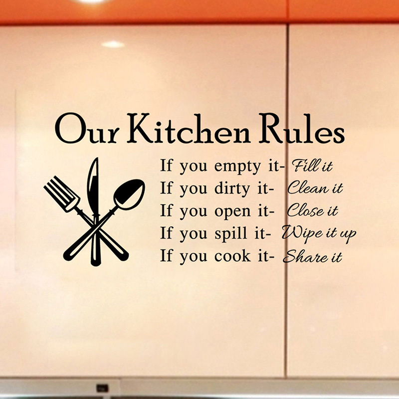Kitchen Rules Living Room Kitchen Vinyl Wall Stickers For Kids Room Lettering Art Quote Decals Home Poster Sofa Wall Decoration In Wall Stickers From Home