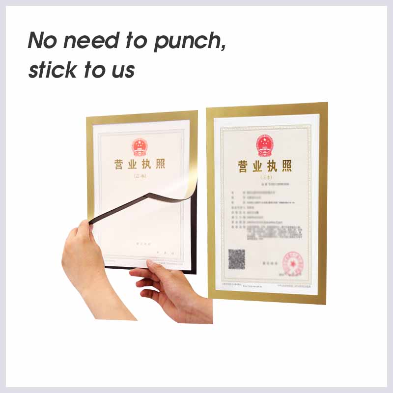 A5 Document Display Silver And Gold Self-Adhesive Fridge Magnets Photo Picture Pocket Frame Border For Refrigerator