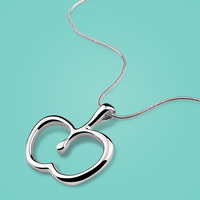 925 Sterling Silver Necklace Female Cute Apple Pendant Design Solid Silver Necklace Ladies Popular Jewelery Snake