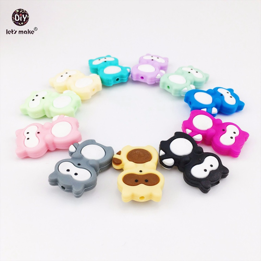 Let's Make 20pcs Siilicone Raccoon Beads Food Grade Silicone DIY Teething Necklace Baby Gifts Pacifier Accessories Baby Teether high quality excavator seal kit for komatsu pc228 bucket cylinder repair seal kit 707 39 52750