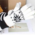 Women Wool Knitted Gloves Snowflake Finger Warm Gloves  For Mobile Phone Tablet