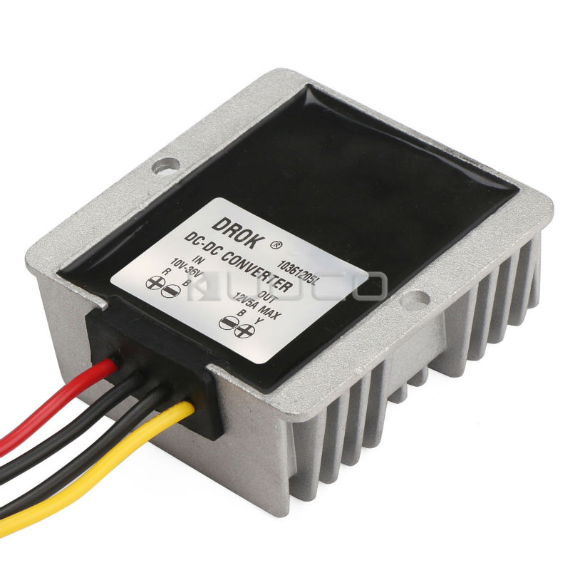 Waterproof Power Converter DC 12V(10V~36V) to 12V 5A 60W Auto Buck Boost Power Supply Module/Voltage Regulator/Adapter/Driver