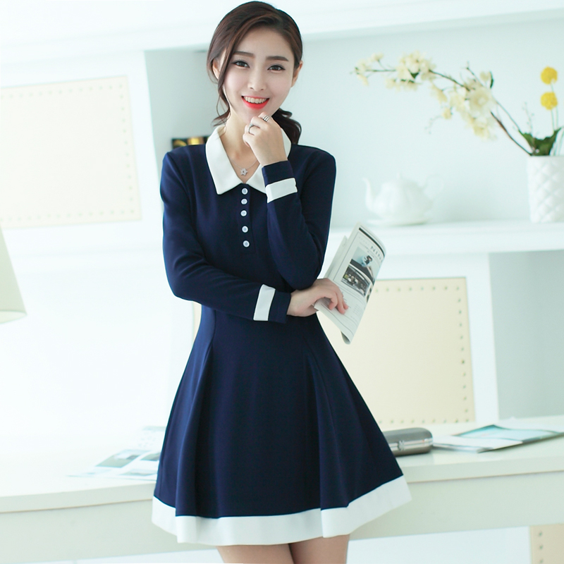 Amazing Winter Dress Women Long Sleeve Dress Solid Color Korean Office Dresses