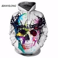 BIANYILONG Hot Fashion Men Women 3d Sweatshirts Print Skull Hooded Hoodies Thin Unisex Pullovers Tops