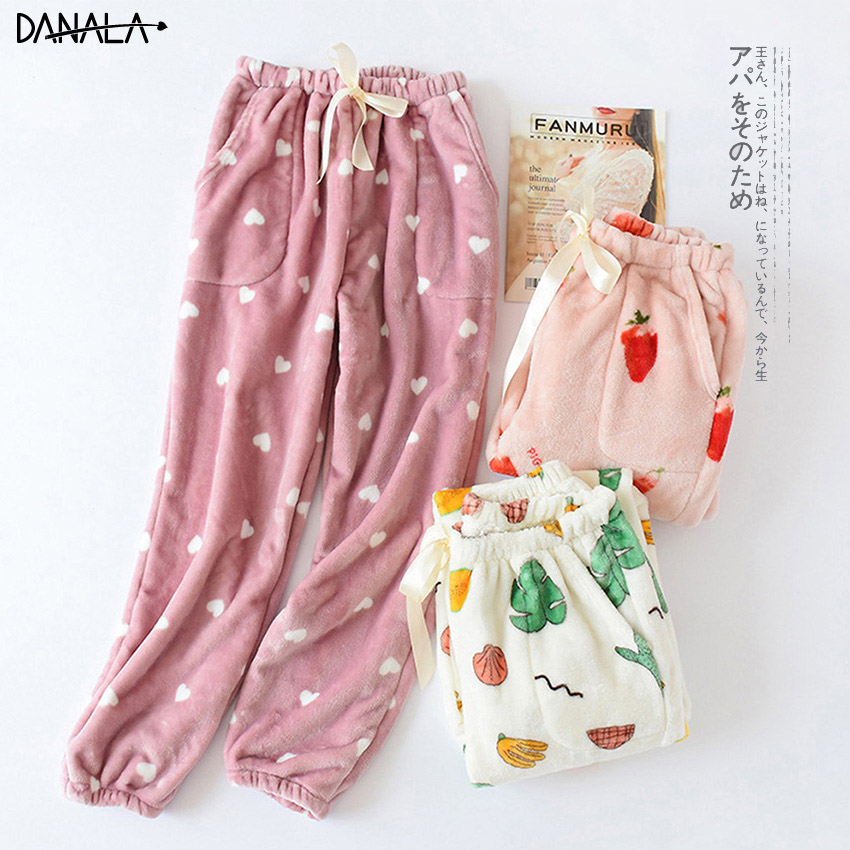 DANALA Autumn Winter Pajamas Home Pants Women Bottoms Fruit Print Thick Flannel Warm Pajama Pants Women Pijama Mujer Trousers