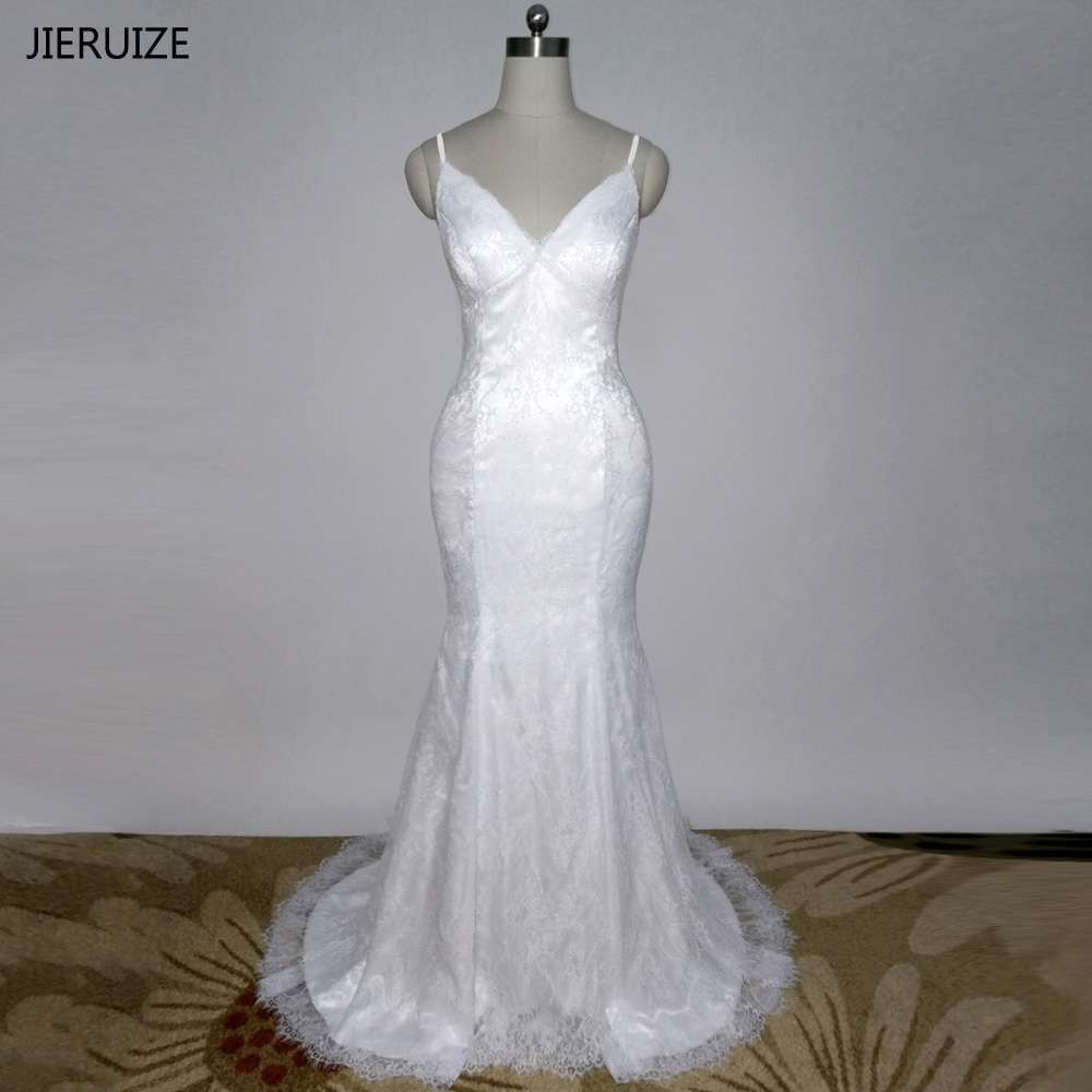 JIERUIZE robe de mariage White Lace Mermaid Wedding Dresses Spaghetti Straps Wedding Gowns trouwjurk brautkleid