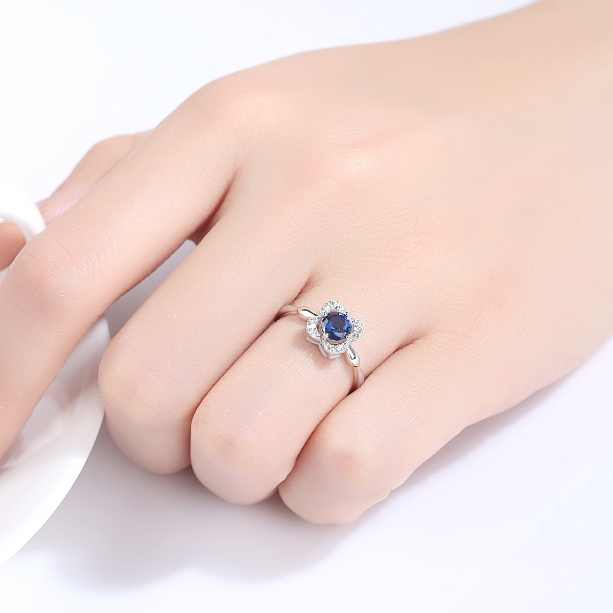 Luxury Blue Sapphire Ring Created Engagement Ring for Women ...