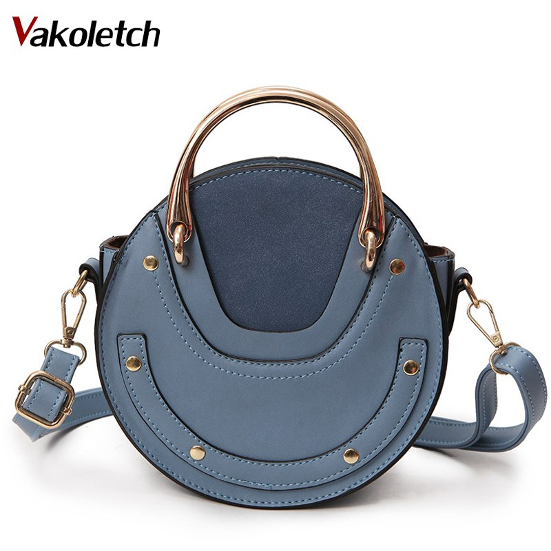 2018 New Fashion Mini PU Leather Handbag One Shoulder Cross-body Bag Small Round Package Women bag Messenger Bags KL152 2016 autumn winter new women s handbag one shoulder cross body bag the trend of fashion picture package large capacity handbags