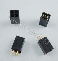 100 pcs 2x2 Pin 2.54mm Duplo Row Female Pin Header 4 P PCB Soquete do Conector