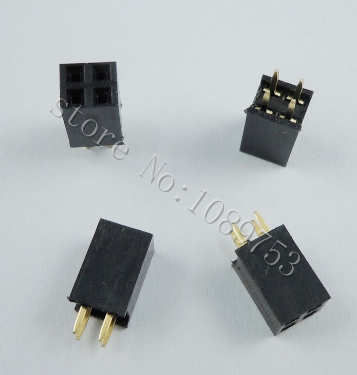 100pcs 2x2 Pin 2.54mm Double Row Female Pin Header 4P PCB Socket Connector